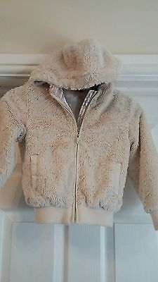 Lovely George Ivory Fluffy Hooded Girls Jacket Age 5 - 6 Yrs