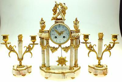 Antique French Solid White Marble & Ormolu 8 Day Striking Portico Mantel Clock