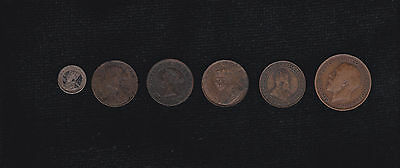 COIN LOT CANADA 1916/1909/1918/1881 penny-1861 half penny-1914 five cent