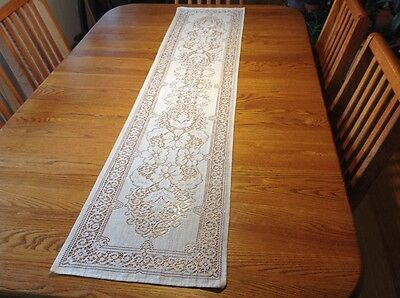 "Vintage Cream Crochet Lace Table Runner 66"" by 14"""