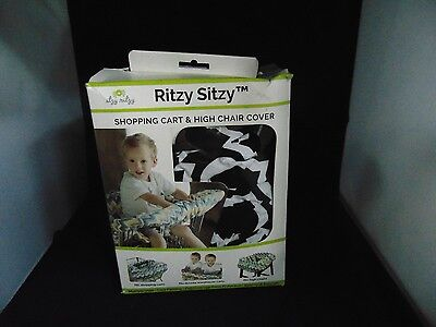 Ritzy Sitzy  Shopping Cart And High Chair Cover    Black, White Chevron      New