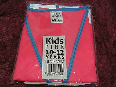 Pink Hi Vis Kids Safety Vest/Waistcoat/Jacket High Visability age 10/12 years bn