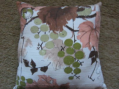 vintage bark cloth pillow 14 by 14 brown, green, coral