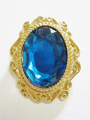 Gold-Toned Brooch / Pin with Blue Faux Gem