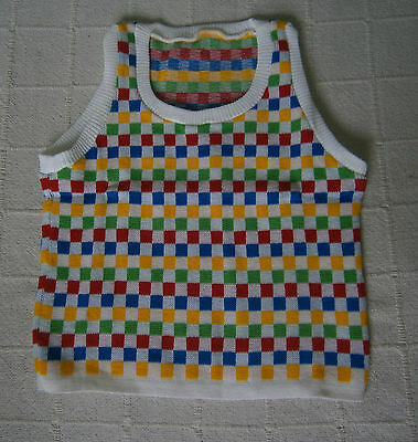 "Vintage Tank Top - 30""-32"" Chest -Age11-12  - White/Multi Squares -Acrylic - New"