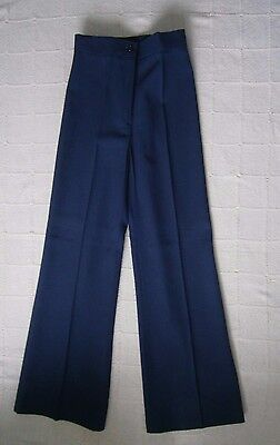 Vintage Girls FlaredTailored Trousers - Age 12- Approx- Navy - Zip Front - New