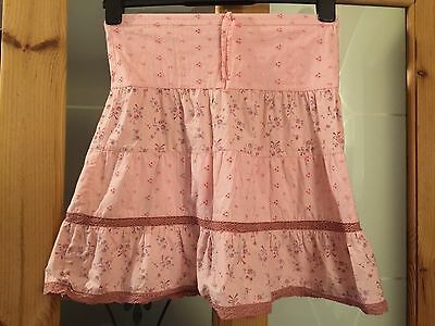 Girls Age 5-6 Years Summer Floral Pink Knee Length Skirt With Broderie Anglaise