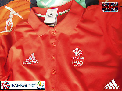 Adidas Team Gb Issue - Training For Rio In 2016 - Athlete Ladies Red Polo Shirt
