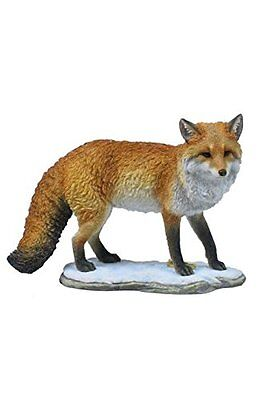 "9"" Fox Standing on Snow Nature Wildlife Animal Statue Collectible Wild Sculpture"
