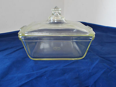 Vintage Pyrex Clear Square Glass Small Casserole with Knob Lid