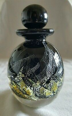 Vintage Black and Gold Glass Perfume Bottle