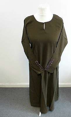 Womens Abaya Dark Green Jilbab Islamic/Arabic Long Dress Size Large Box2405 A