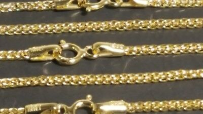 "14K Solid Yellow Gold 1.7mm Square Wheat Chain Necklace 16"",18"",20"",22"""