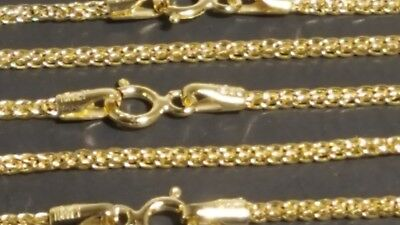 "14k Solid Yellow Gold 1.25 mm Square Wheat Chain Necklace 16"",18"",20"",22"",24"""