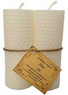 1 x SET (2) OF WHITE BEESWAX ALTAR CANDLES 110mm Wicca  Witch Pagan Goth Ritual