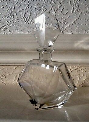 Crystal Art Deco Inspired French Perfume Bottle and Stopper