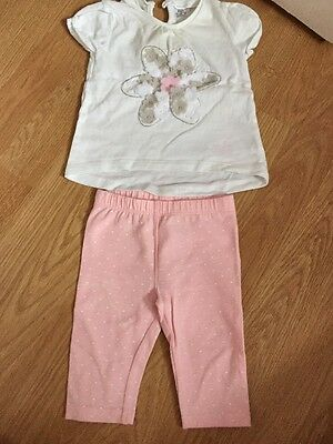 F&F Baby Girl Top & Legging Outfit 0-3 Months