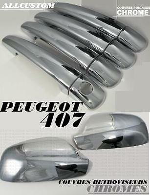 Chrome Side Exterior Mirror Covers + Door Handle Cover Peugeot 407 Sw Coupe V6..