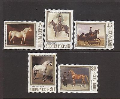 Russia 1988 Horses  Mint unhinged set 5 stamps