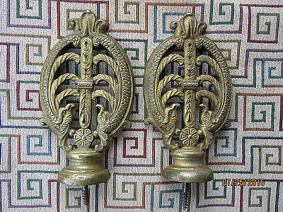 Vintage Solid Brass Curtain Tie Backs Bird Motif Circa 1880