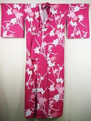 Contemporary Japanese Kimono/Coat/Robe Rose Pink 'Orchids' M/L Washable GIFT?