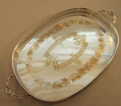 English Electroplated Gallery Tray Shell Handles