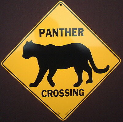 PANTHER CROSSING Sign silhouette aluminum decor cats home novelty  wildlife