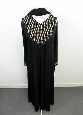 Womens Abaya Black & Brown Jilbab Islamic/Arabic Long Dress Size M - Box2408 E