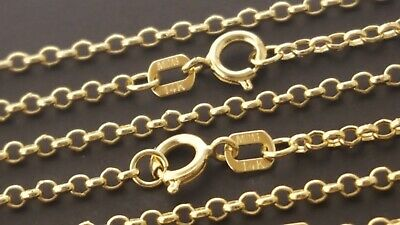 "14 k Solid Yellow Gold 1.5mm Italian Rolo Chain Necklace  20"", 22""."