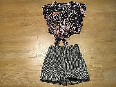 Girls next grey wool winter tweed shorts Paisley tie top Blouse outfit age 3 4