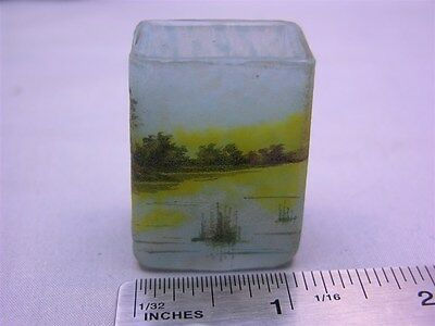 Rare Antique Signed Daum Nancy Miniature Enameled Vase Toothpick Lake Scene