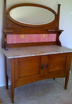 1910 Australian Oak Washstand with Mirror and Rose Tiles