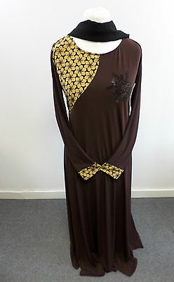 Womens Abaya Brown Jilbab Islamic/Arabic Long Dress Size Medium Box2405 H