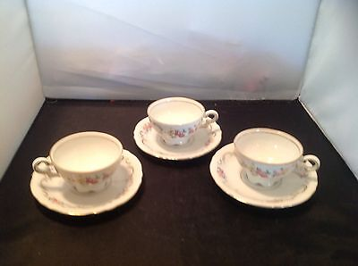 Mitterteich Teacups And Saucers Bavaria White Gold Scroll Floral Rose Pattern