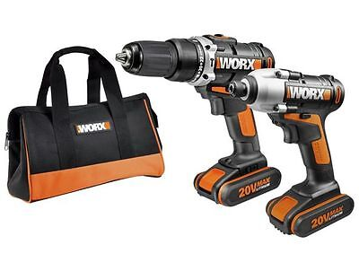 WORX impact driver hummer drill kit 20V twin pack