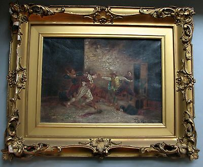 19thC Antique French Impressionist Oil On Canvas Painting Signed in Gilt Frame