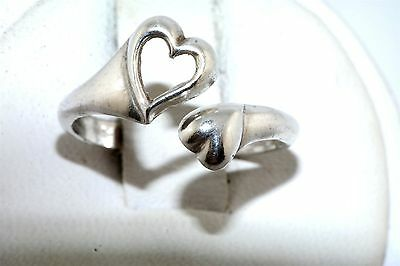 Heart Design Expandable Wrap Sterling Silver Ring