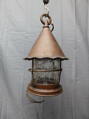 Vtg Arts Crafts Mission Copper Porch Ceiling Light Fixture Crackle Glass 2191-16