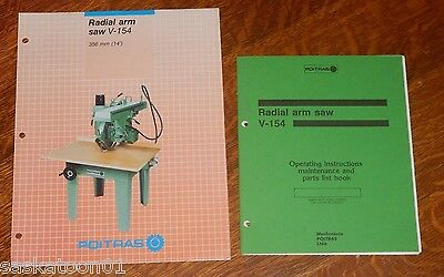 Authentic Original POITRAS Woodworking Machinery V-154 Radial Arm Saw Manual