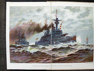 Rare 1911 German Pre- Wwi Imperial Navy Art & Photo Book 150 Pics +1 Color Plate