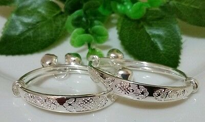 beatiful 2pcs  adjustable baby bracelet bangle with stamp 925 sterling silver