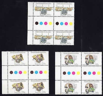 Stamps - Cocos Island MUH gutter blocks and M/s