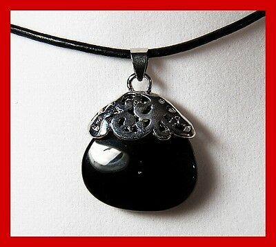 Black Tourmaline Oval Pendant With Antique Scroll Metal Top & Chain