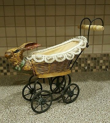 Vintage Rabbit Bunny Wicker Doll Baby Buggy Carriage