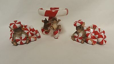 3 Charming Tails CANDY CANE CANDLE HOLDERS Fitz & Floyd Christmas Mouse Mice