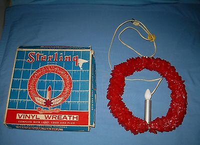 Mid Century Sterling Cellophane Vinyl Red Christmas Lighted Wreath w Original Bx