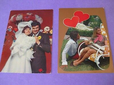 ITALIAN  PERFECT ROMANCE  POSTCARDS x 2  - Purchased in 1975 - Postally unused!