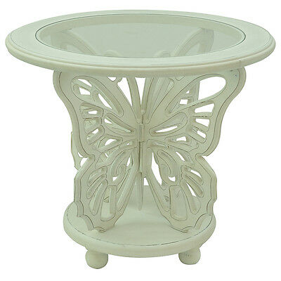 Bethany White Butterfly Table 25 X 25 X 22.5
