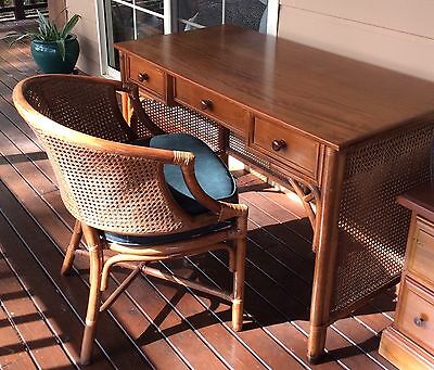 Desk Cane & Matching Chair, 3 Drawers; Rattan Back/sides, (Sydney) Great Cond