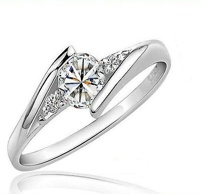925 Sterling Silver 0.5ct Diamond Engagement Ring AVL Size 4.5  to 10 + FS